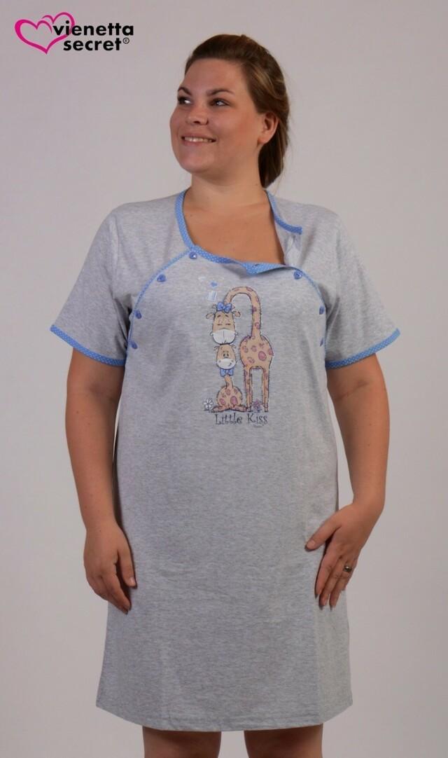 Dámská noční košile mateřská Žirafy - šedá/modrá XL
