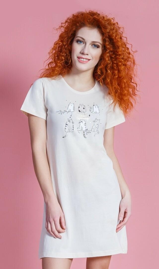 Dámská noční košile s krátkým rukávem Cats - šedá L