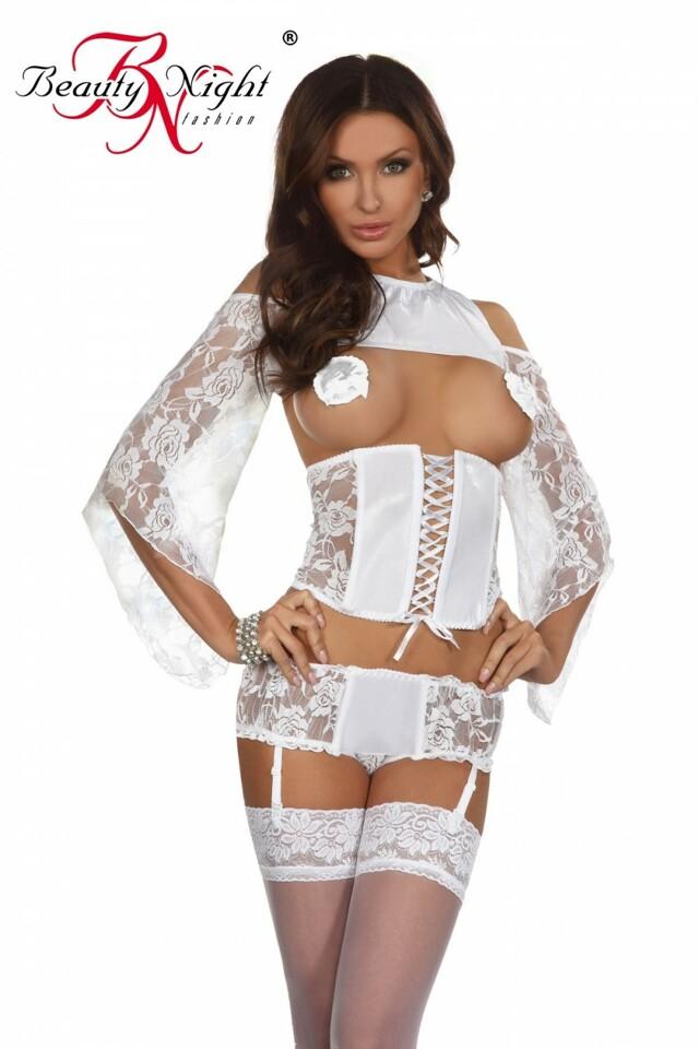 Erotická souprava Priscilla white - S/M - bílá