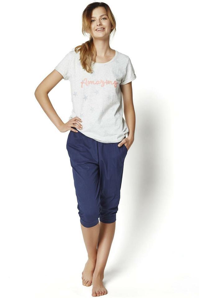 Dámské pyžamo Raisa 35252-09X - Henderson - S - šedo-modrá