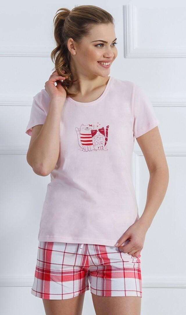Dámské pyžamo šortky Kočky Ospalky