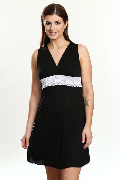 Noční košilka Violana Marina black-white - bez rukávů