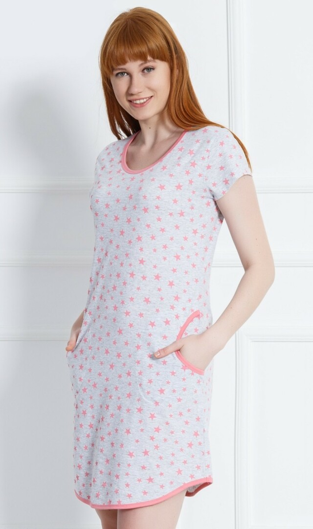 Dámské domácí šaty s krátkým rukávem Stars - šedá/lososová S