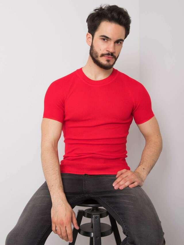 Pánské červené pletené tričko - L