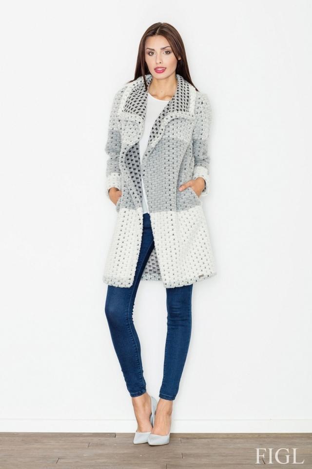Dámský kabát M507 grey - S - šedá