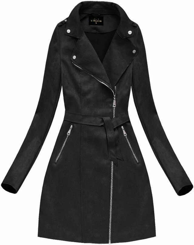 Černý dámský semišový kabát (6004BIG) - 46 - černá