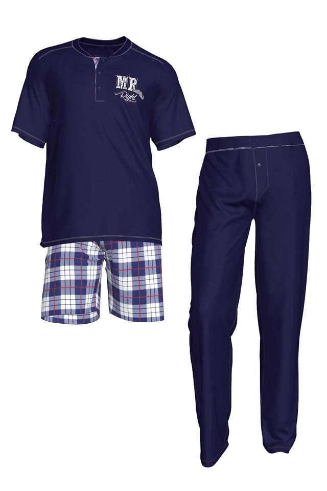 Pánské pyžamo 3pack - 3438 - Vamp - M - modrá kostka