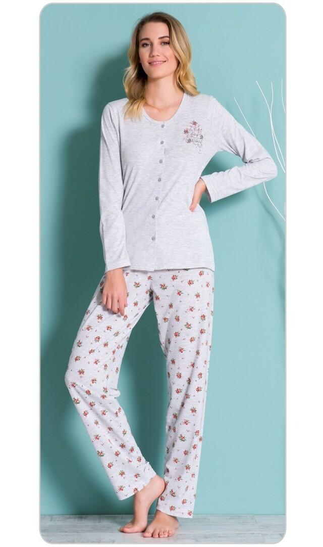 Dámské pyžamo dlouhé Aneta - šedá M