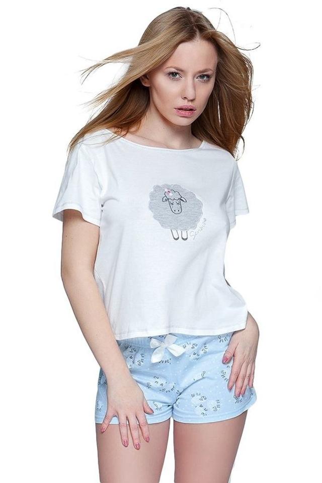 Dámské pyžamo modré bavlněné Ovečka krátké - XL