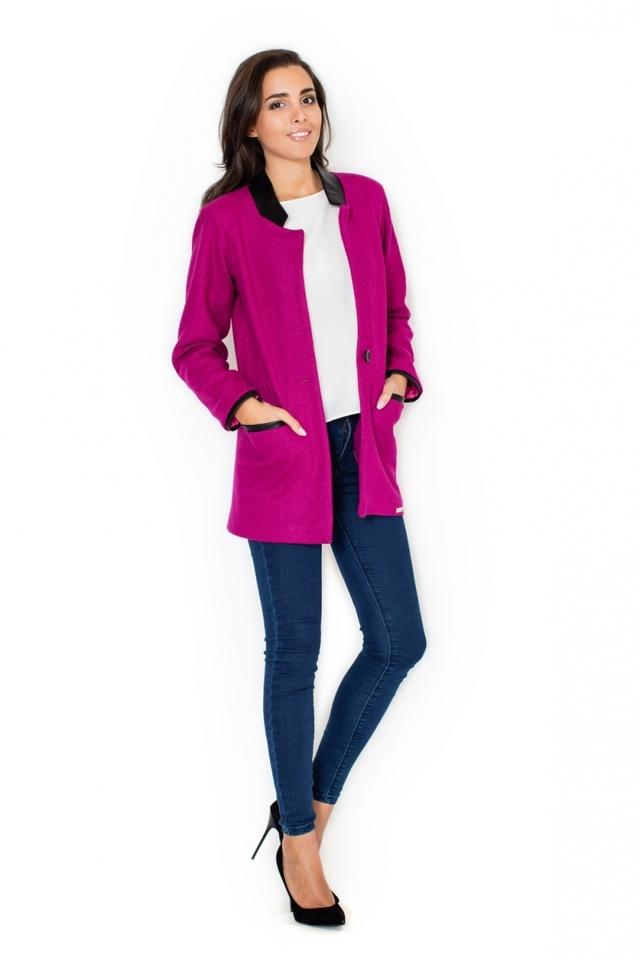 Dámský kabát K307 fuchsia - XL - růžová