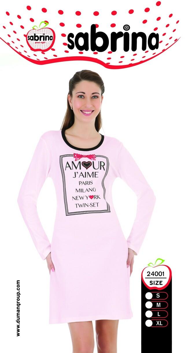 Dámská noční košile SAB 24001 Sabrina - S - růžová