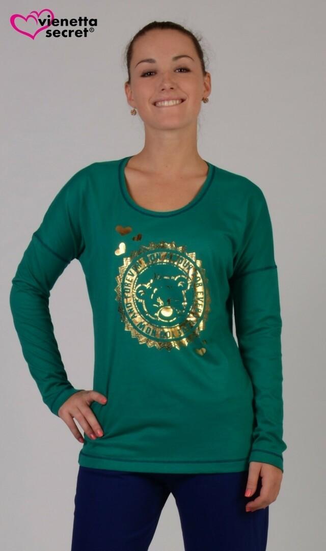 Dámské pyžamo dlouhé Bear - tmavě zelená S