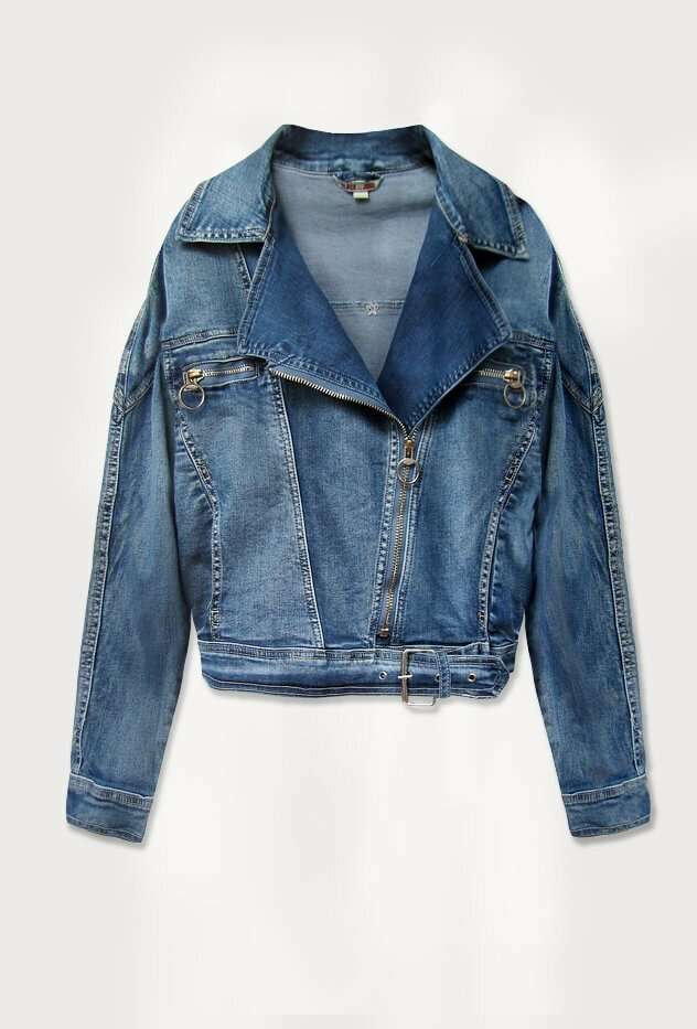 Světle modrá krátká dámská džínová oversize bunda (055-1) - S (36)