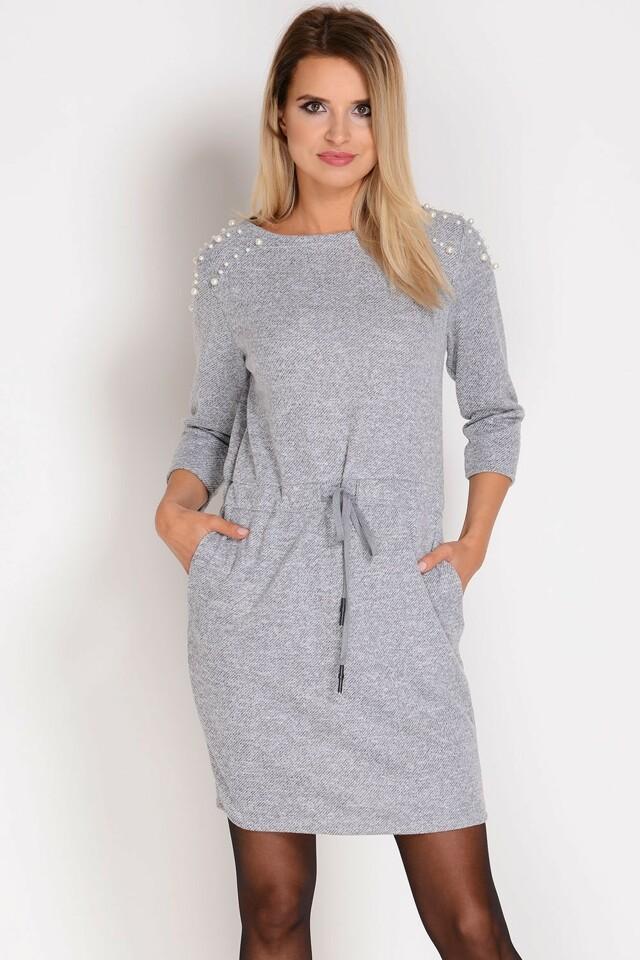Teplé dámské šaty Avaro SU-1278 - UNI - světle šedá