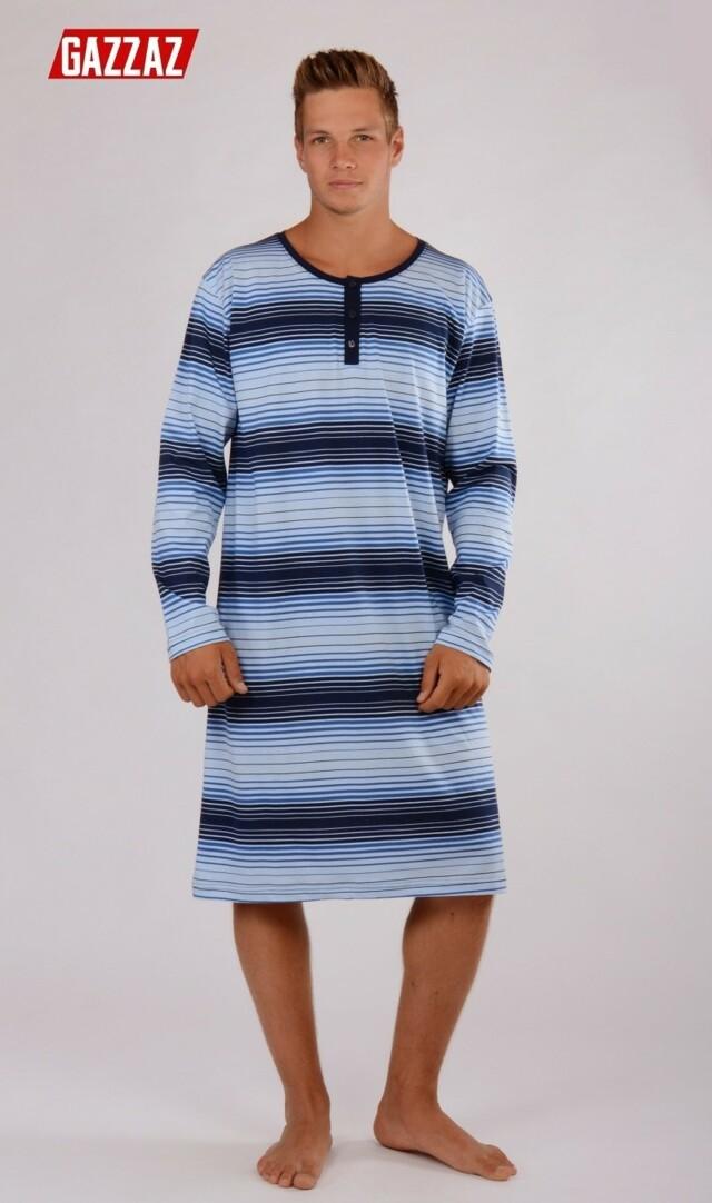 Pánská noční košile s dlouhým rukávem Šimon - modrá M 680b6a44b9