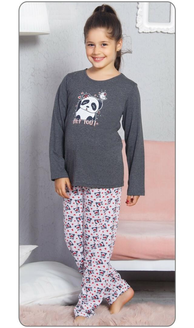 49e8b613f685 Dětské pyžamo dlouhé Panda a ptáček - tmavě šedá 15 - 16