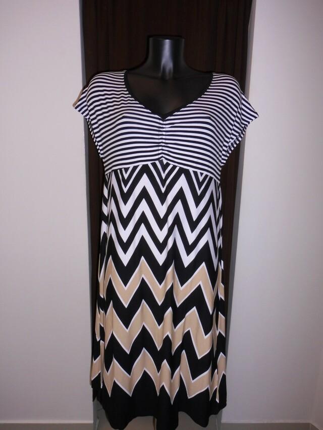 Šaty 4623 - Vamp - XS - bílá, černá, béžová-pruhy