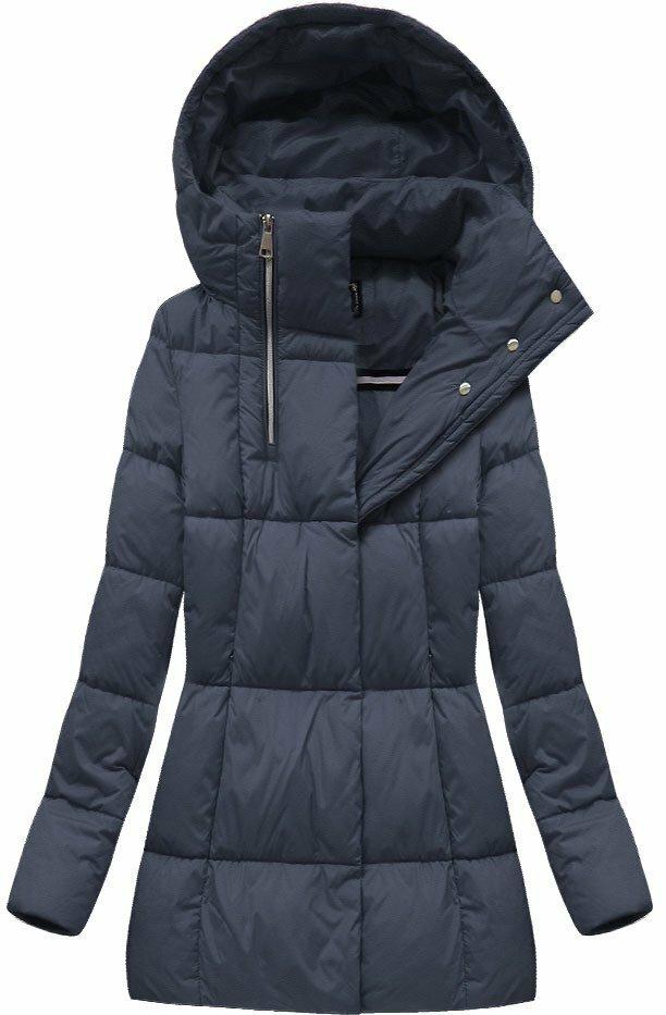 Tmavě modrá dámská zimní bunda krátká (7750BIG) - 48 - tmavěmodrá