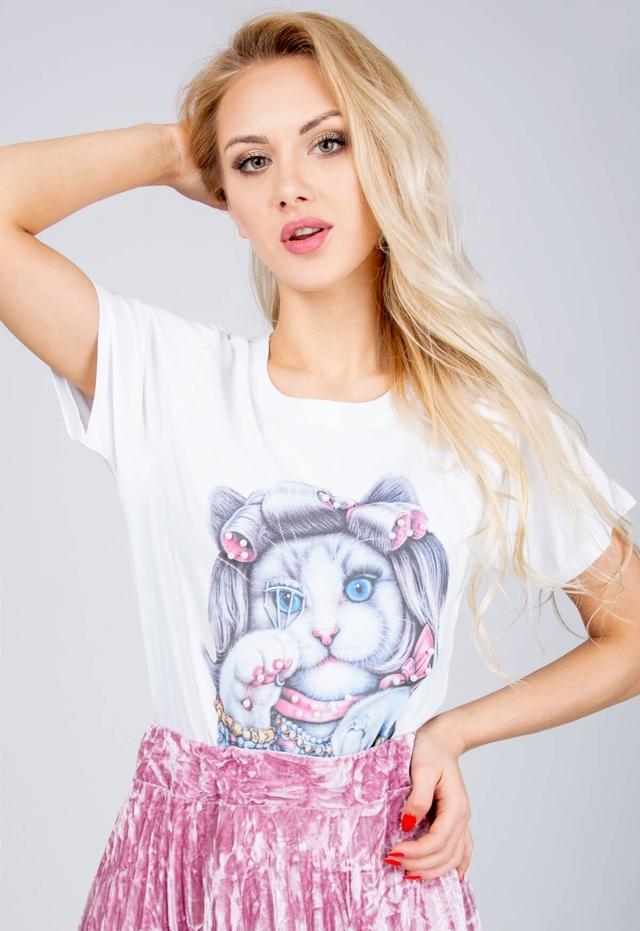 648cc4bea Bílá dámská halenka s perličkami a potiskem kočičky - univerzální - Bílá