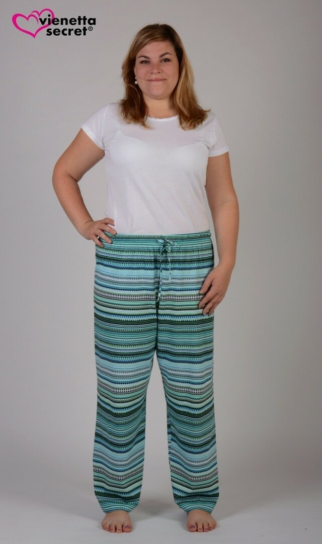 Dámské pyžamové kalhoty Elizabet - azurová XXL
