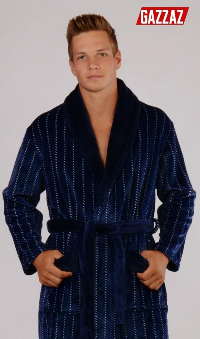 Pánský župan se šálovým límcem Pavel - tmavě modrá XL