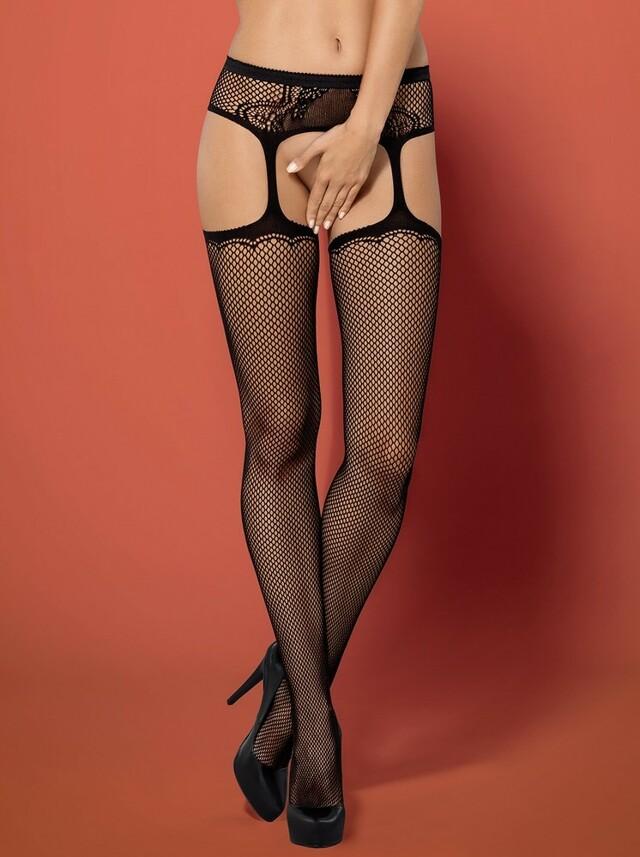 Podvazkový pás s punčochy Garter stockings S232 - Obssesive - S/M/L - černá