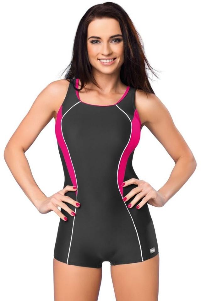 Jednodílné plavky s nohavičkou Isabel šedé - XL