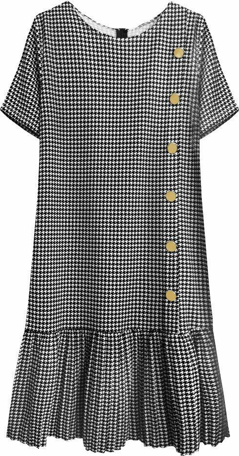 Černo-bílé dámské šaty s pepitovým vzorem (363ART) - ONE SIZE - bílá
