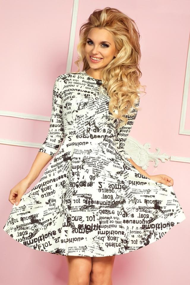 Okrové šaty s 3/4 rukávy a novinovým potiskem 49-4