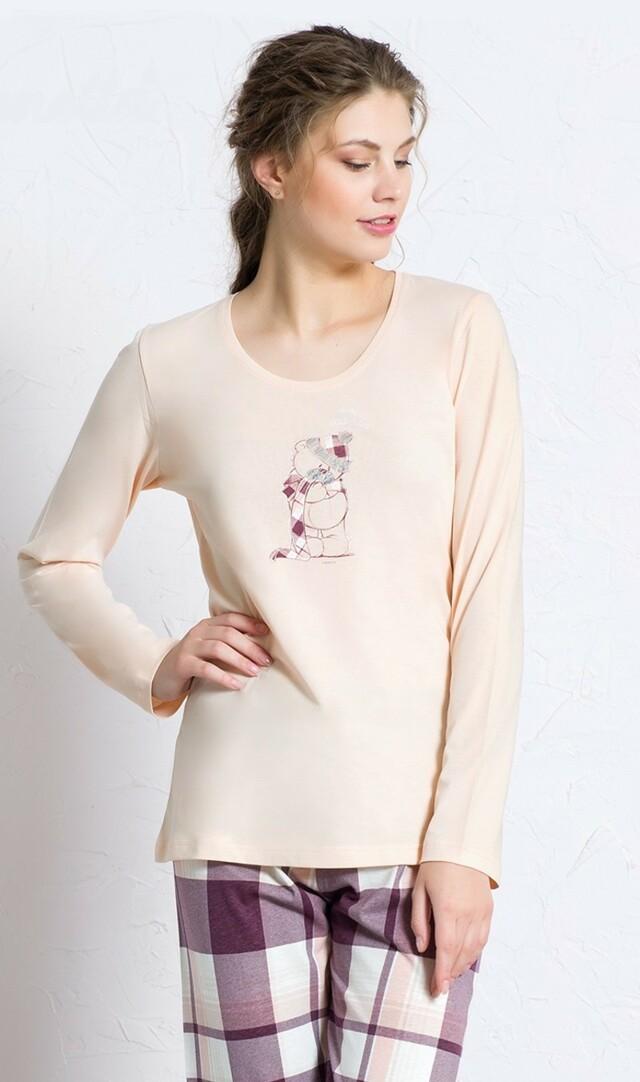 Dámské pyžamo dlouhé Malý méďa - korálová L