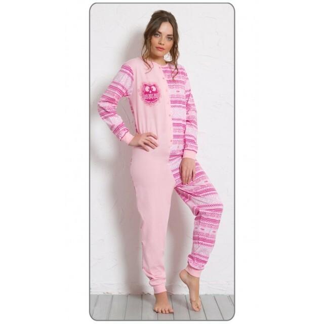 Dámské pyžamo overal Sova 0284 - Vienetta - L - modrá