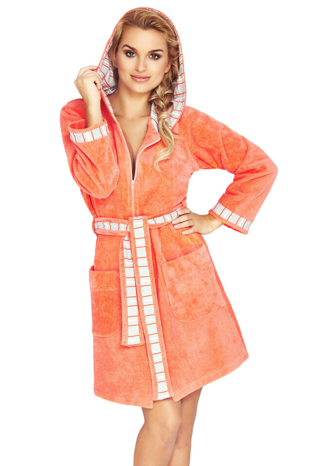 Froté župan na zip Rose oranžový - XL