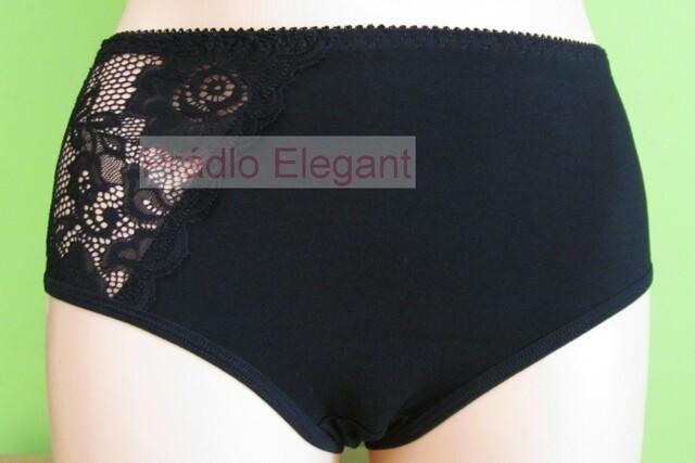 Bavlněné kalhotky s krajkou a vyšším pásem 100 černé - L