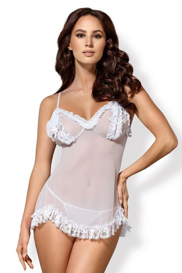 Erotická košilka Joanna white - S/M - bílá