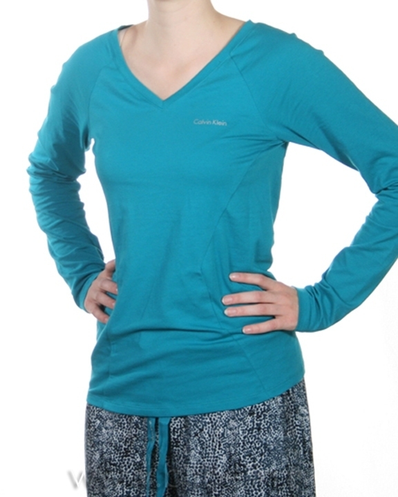Dámské tričko S5199E - tyrkys - Calvin Klein - L - tyrkys
