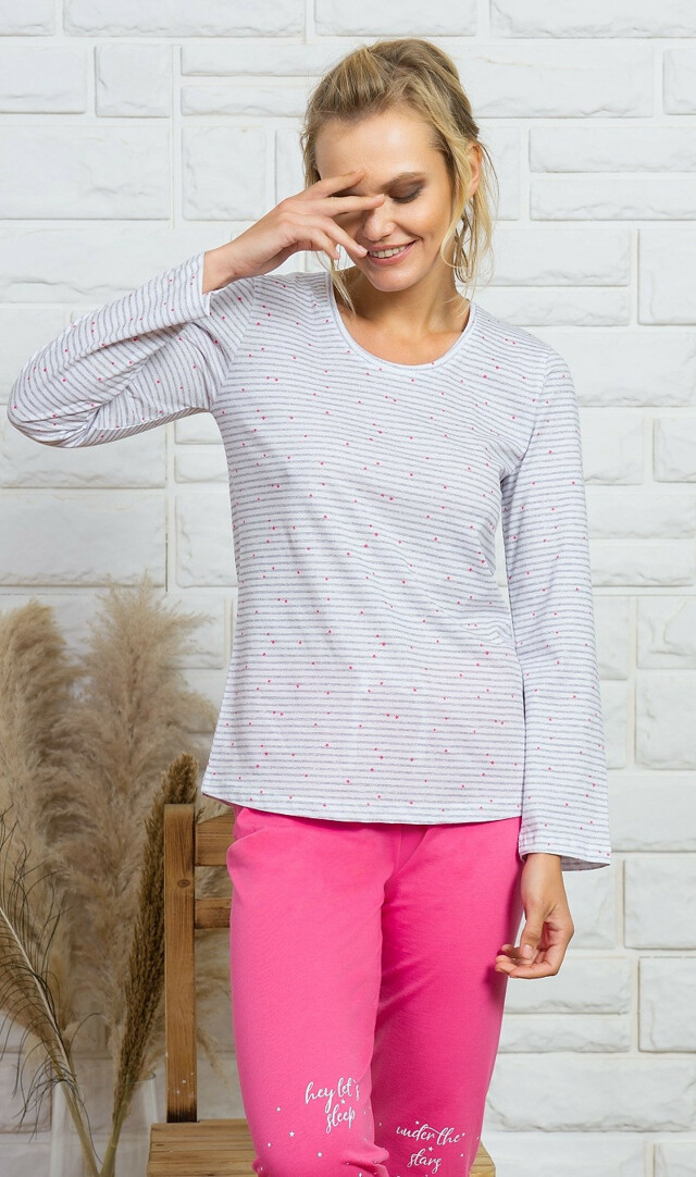 Dámské pyžamo dlouhé Lilien - šedá/tmavě šedá XL