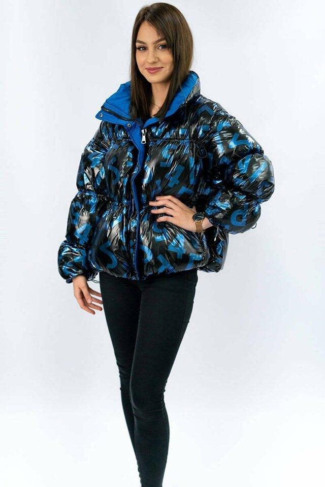 Černá lesklá dámská bunda se stahovacími šňůrkami (620ART) - S (36) - černá