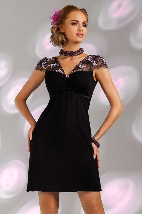 Noční košilka Donna Ismena black - XXL - černá