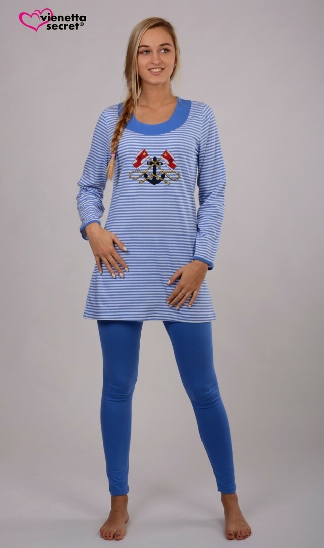 Dámské pyžamo dlouhé Rihanna - tmavě modrá L