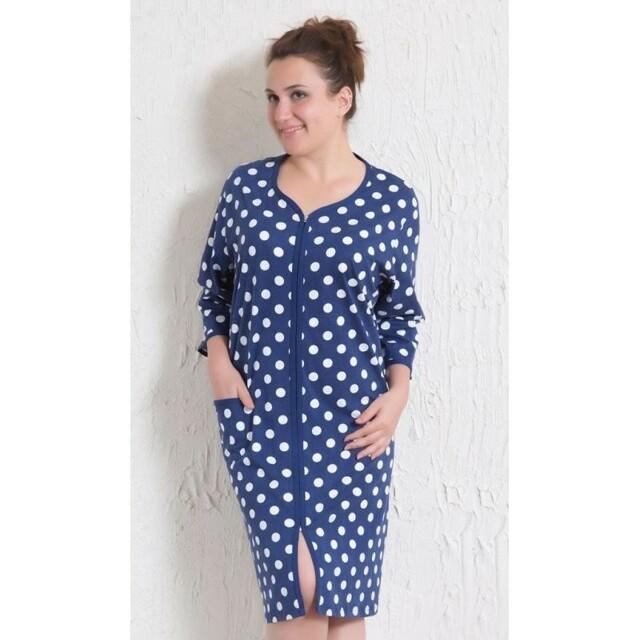 Dámské šaty na zip s puntíky 1618 - Vienetta - 3XL - modrá-puntík