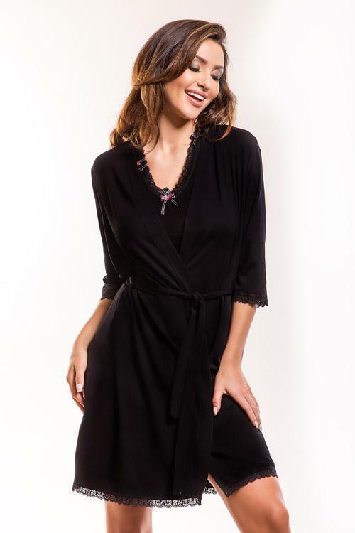Dámský župan Hamana Virginia gown black - XXL - černá