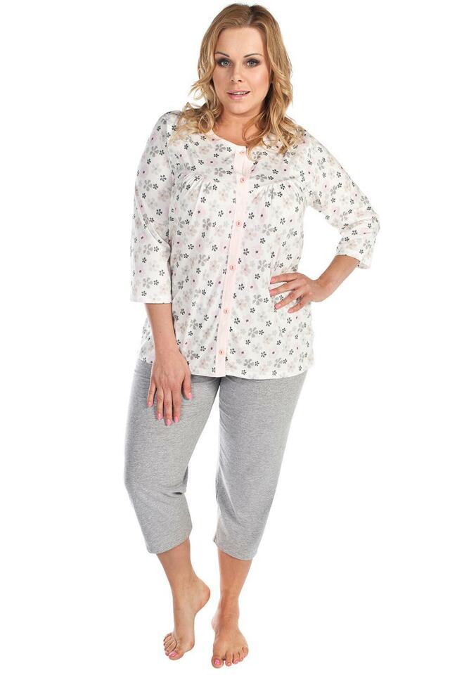 Pyžamo Italian Fashion Azalia r.3/4 sp.3/4 - M - lososová-žíhaná