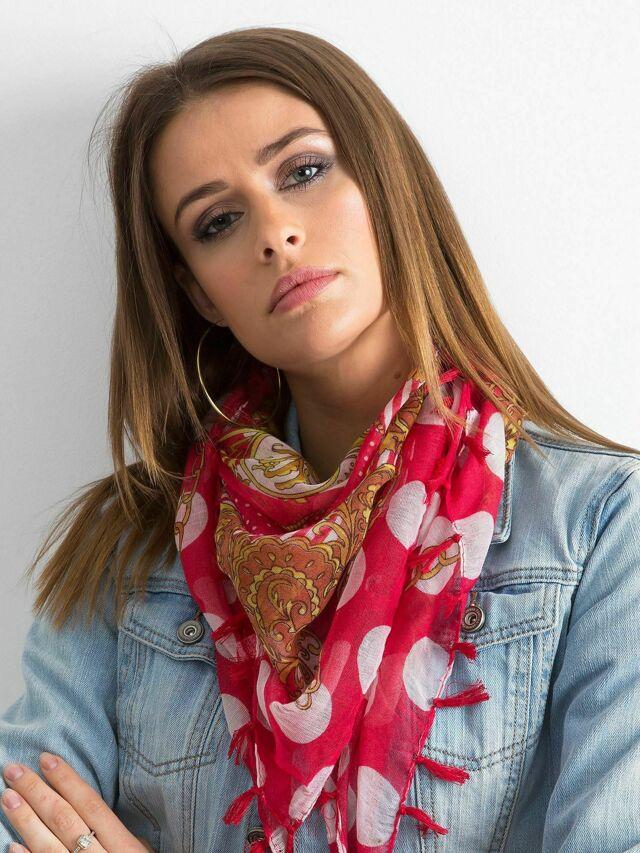 Vzorovaný červený šátek - jedna velikost
