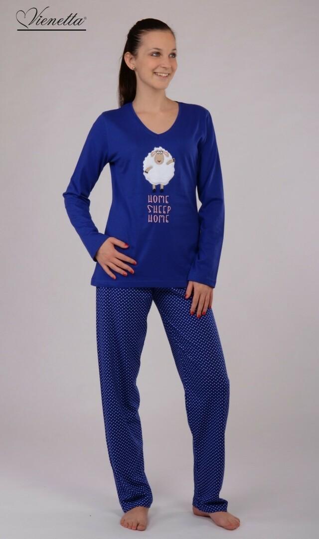 Dámské pyžamo dlouhé Ovce - modrá L