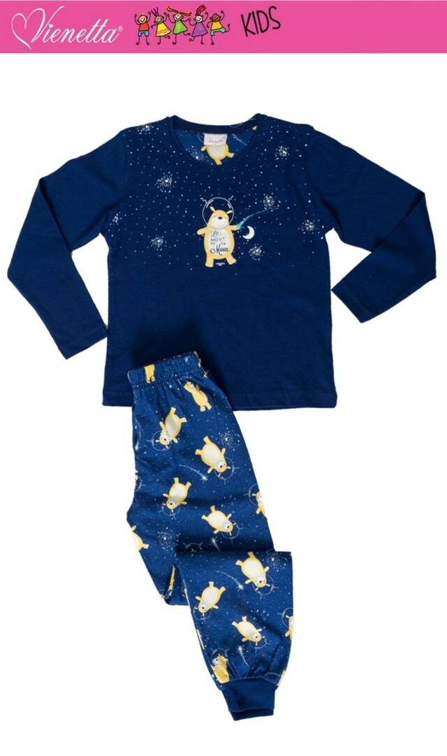 Dětské pyžamo dlouhé Méďa a měsíc - tmavě modrá 7 - 8