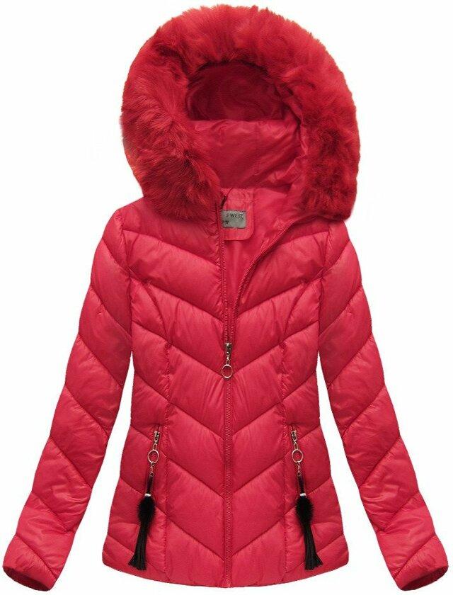 Červená dámská zimní bunda krátká (B1037-30) - S (36) - červená