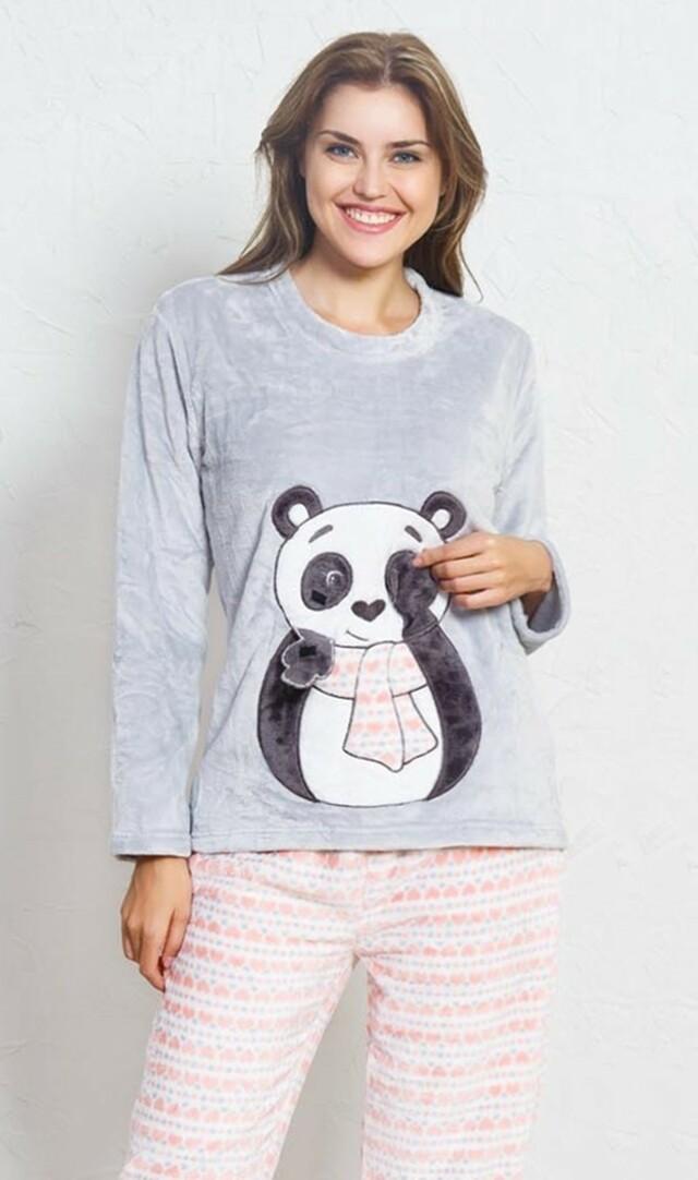 Dámské pyžamo dlouhé Panda se šálou - šedá M