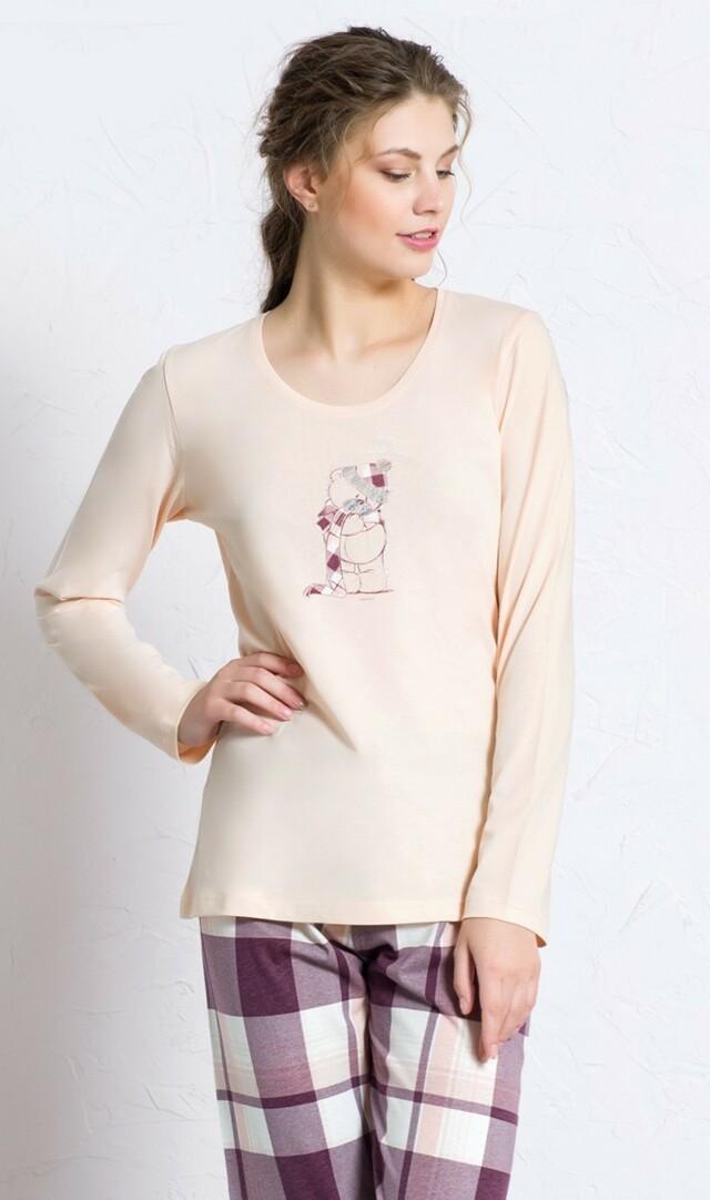 Dámské pyžamo dlouhé Méďa s čepicí - korálová L
