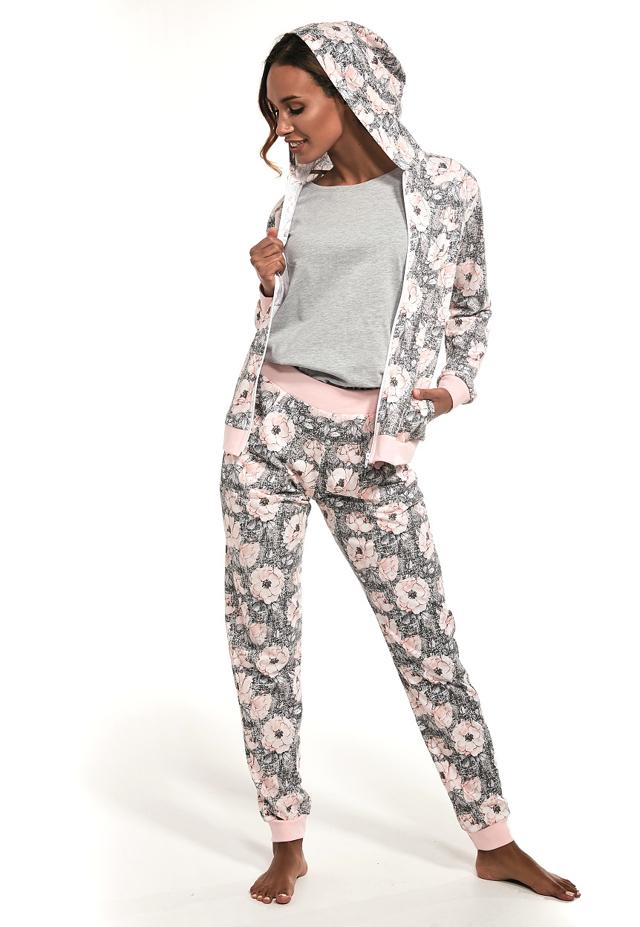 Trojdílné dámské pyžamo Cornette 355/216 Megan - L - šedá-růžová