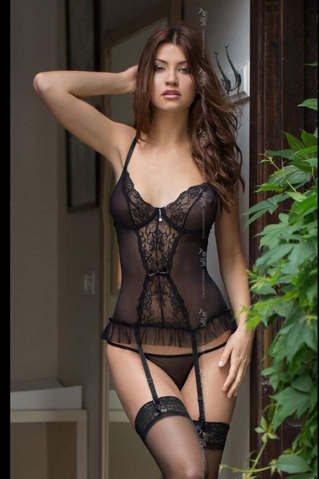 Erotický korzet Daria black - S - černá